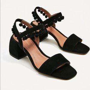 Pompom Block Sandal - Zara